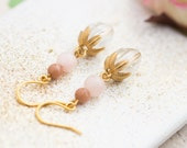 Crystal Dangle Earrings, Pink Earrings, Mountain Jade Earrings