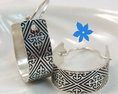 Medieval U Hoop Etched Earrings SS