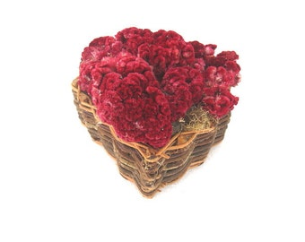 HEART BASKET  dried flower decoration  WREATH alternative or Centerpiece Smaller size
