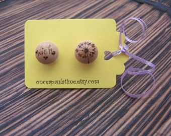 Wood Burned Stud Earrings Wish Dandelion
