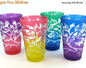 SUMMER SALE Tree of Life 12oz Pint Glasses - Set of 4 - Etched and Painted Glassware - Ready to Ship