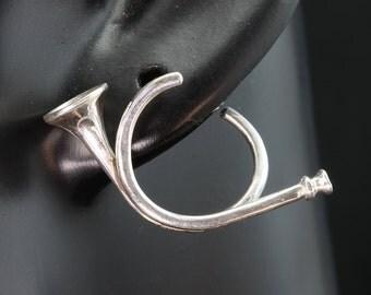 Sterling SIlver Hunting Horn Earrings