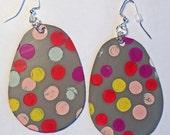 Polka - one of a kind handmade poured paint earrings