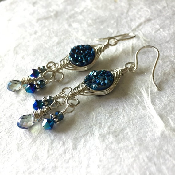 Sterling Silver Wire Wrapped Druzy Earrings, Goddess Collection, Electric Blue, Gemstone Beads, Vintage, Swarovski, Crystal, Glam