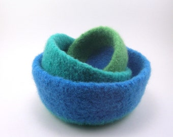 Wool felted nesting bowls - wool bowl set - cerulean, mint and spring green