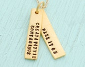 """Hand crafted creativity quote necklace, """"Creativity is contagious, pass it on"""" - ALBERT EINSTEIN eco-friendly 14kt gold vermeil charm."""