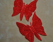 RED vELVET BUTTERFLIES (2) Pair Millinery  Pressed Pieces Embossed from Antique Molds Butterfly MORE AVAlLABLE
