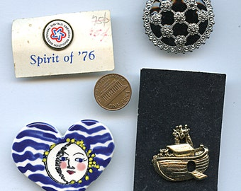 Lot of (4) Vintage Brooches Wholesale Pins 1622 Five Bucks
