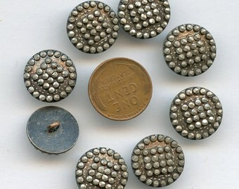 Victorian Silver Brown Wash Buttons Set of (8) Antique Metal Matching  Victorian 5/8  inch size MORE AVAILABLE  1936