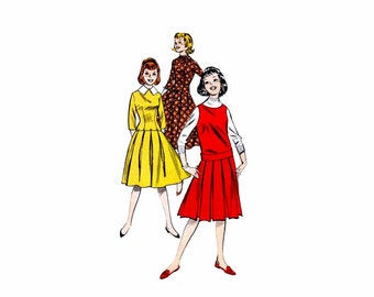 1950s Girls Low Waist Dress and Jumper Butterick 8676 Vintage Sewing Pattern Size 12 Bust 31
