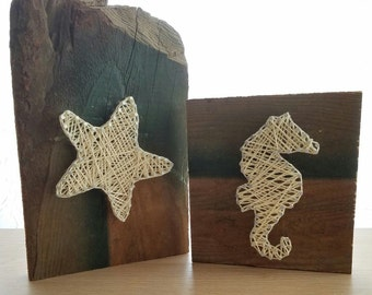 Reclaimed Wood - String and Nail Art - Seaside Starfish and Seahorse - 2 Pieces