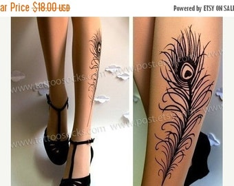10%Off// PEACOCK FEATHER TATTOO gorgeous thigh-high stockings Light Mocha