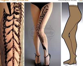 Sale/15%Off/EndsSep30/ L/XL Fish Bone tattoo tights / stockings / full length / pantyhose / nylons Cafe Latte