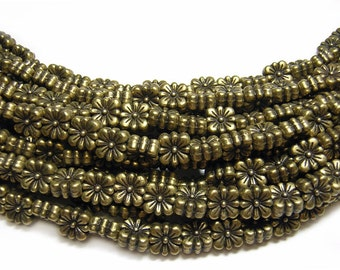 "Metal Beads || 7mm Antique Brass Squared Daisy Flower Beads 8"" Strand (4158) Lead Free Pewter Beads"