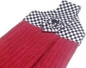 Hanging Kitchen Dish Towel Black and White Checkered