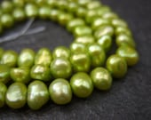 Apple Green Freshwater Pearls - One Strand - 6mm-7mm