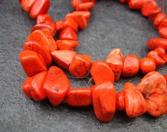 Orange Howlite Nugget/Chip Beads - One Strand - B-6621