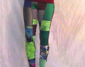 Like Peppers- Patchwork Leggings-Rollerderby-Festival-WorkOut-Yoga-Gym