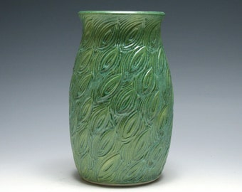 Jade Green Vase with Carved Leaves