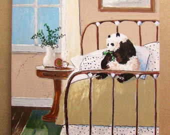 original painting panda on bed 5x7