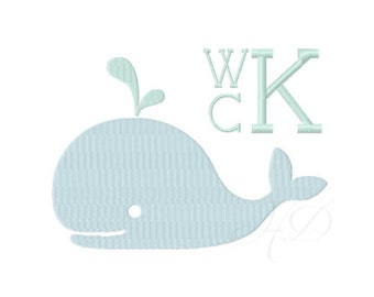 Preppy Whale Embroidery Design Flat Stitch Applique Embroidery Font BX instant download 4x4 5x7 6x10