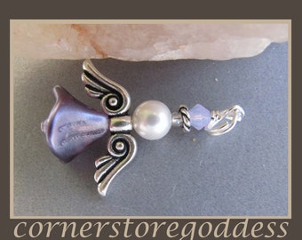 Cornerstoregoddess Purple Velvet Angel Charm Pendant Zipper Pull