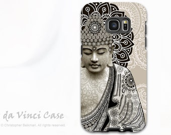 Paisley Buddha Galaxy S7 / S7 Edge Case - Dual Layer Two Piece Tan Buddhist Tough Case - Meditation Mehndi