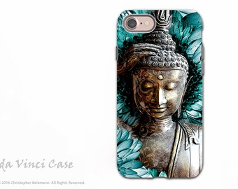 Floral Buddha iPhone 7 / iPhone 8 Tough Case - Blue and Brown Dual Layer Protective Case for Apple iPhone 7 / 8 - Zen Art - Mind Bloom