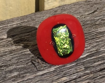 Red Orange and Green Fused Dichroic Glass Adjustable Ring