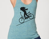 FASTER FASTER - Womens Tri-Blend Racerback American Apparel Tank Top - vintage-bicycle-tee