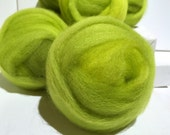 Lime Green wool roving, Spinning, Needle Felting Spinning wool, yellow green, chartreuse