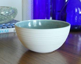 Porcelain Bowl - Groove Bowl in Fog - Blue Grey Pottery Bowl - Handmade Ceramic Soup Bowl
