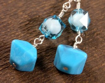Aqua blue turquoise glass beads handmade silver earrings
