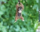 Tiny Baby Orangutan Necklace / sculpture - needle felted