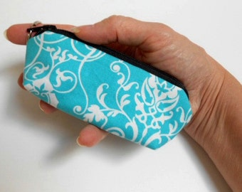 Mini Key Chain Zipper Pouch ECO Friendly Padded Lip Balm Case NEW Aqua Mist Vines