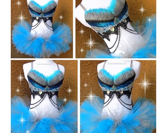 Blue Grey Cheshire Cat Inspired Rave Outfit - Rave Bra, TuTu, Alice in Wonderland Rave Outfit, Halloween EDM Costume