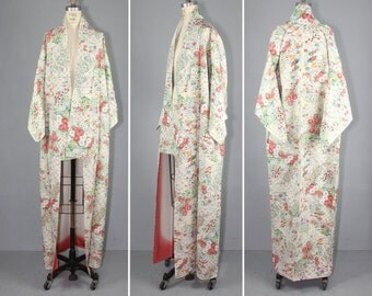 vintage kimono / floral / dressing gown / SUMMER LATTICE wedding kimono