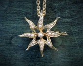 Antique 14K and Seed Pearl Sunburst Brooch and Pendant Necklace