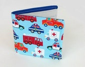Little Boys first Wallet with Emergency Vehicles, Fire Truck, Ambulance, Tow Truck and Police Car, Vegan Cotton Wallet for guys