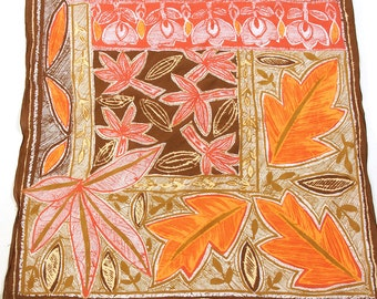 70s Italian Cotton Scarf / Vintage 1970s Square Batik Floral Print Scarf or Handkerchief / Slightly Sheer Mod Boho Retro Rockabilly Hippie