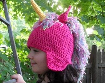 unicorn hat rainbow mane  pink hat