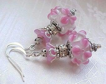 Pink Earrings Whimsical Earrings Easter Earrings Pink Flower Lampwork Earrings Floral Lampwork Earrings Shabby Chic Earrings Mothers Day