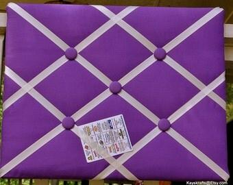 Purple Memory Board French Memo Board, Fabric Ribbon Memo Bulletin Board, Fabric Message Board,  Fabric Pin Board, New Baby Gift