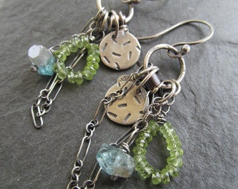 BOHO Charm Earrings Dangling Silver and Gemstone wire wrapped Charm Cluster Earrings