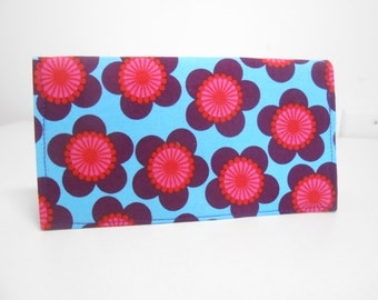 Blue and Pink Checkbook Cover, Floral Duplicate Checkbook Cover, Pink and Purple Floral