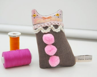 Textile art cat doll -  small soft sculpture clown kitten with pink pom poms