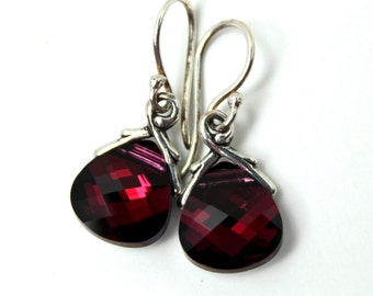 Blood Red Crystal Earrings Deep Ruby Swarovski Briolette Drop & Sterling Silver Opaque Garnet January July Birthstone Gifts Under 25 for her