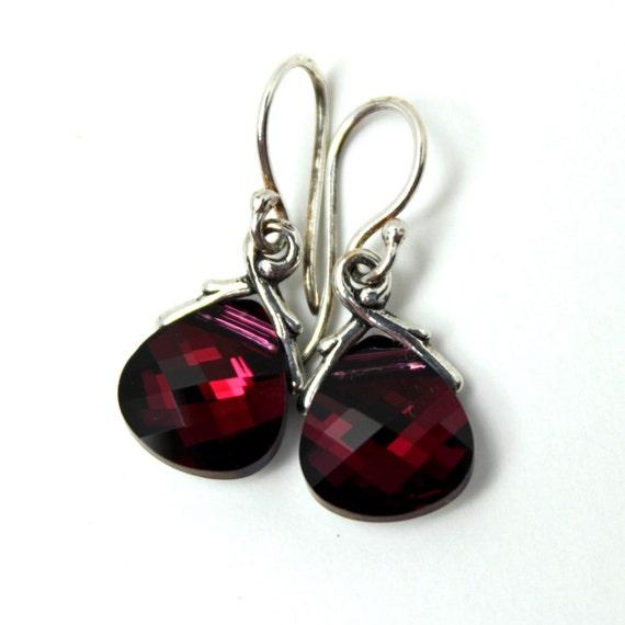 Blood Red Crystal Earrings Deep Ruby Swarovski Briolette Drop & Sterling Silver Opaque Garnet January July Birthstone Gifts Under 25 for her