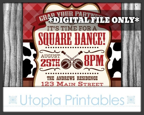 Square dance invitation rustic country western or southern theme il570xn stopboris Images