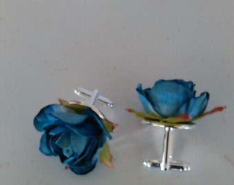 Fathers Day Blue Rosette Cuff Links